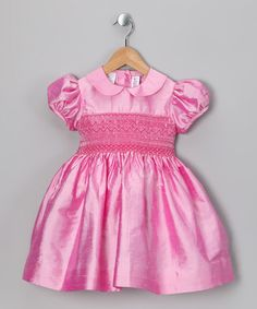 Take a look at this Pink Smocked Silk Puff-Sleeve Dress - Infant, Toddler & Girls by SIMI on #zulily today!