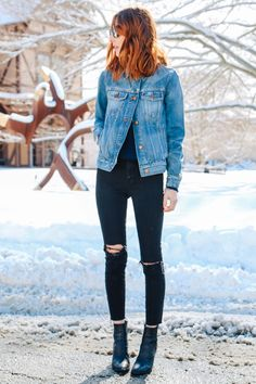madewell jean jacket high riser skinny jeans