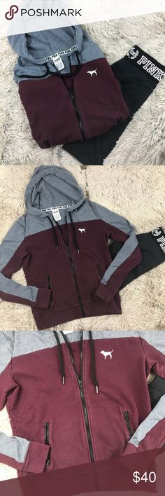 """PINK Full Zip Hoodie Burgundy Grey Sweater Pink  Burgundy & Grey Grey part is stretchy """"workout"""" material Burgundy is regular cotton material Full black Zipper 2pockets With Black zippers  Back has """"PINK"""" in white outline & """"PINK"""" in silver color Hoodie w/ drawstring   Size: small  Condition: Very good condition. Front burgundy part has minor fading/piling. Silver """"PINK"""" writing at Back has little cracking. Everything else is in Excellent Condition PINK Sweaters"""