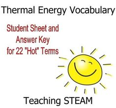 Student sheet and answer key to 22 vocab terms such as: Thermal mass Albedo Energy budget Conduction Convection Radiation Insulation R value Specific heat Laws of Thermodynamics Great before weather and climate, environmental science, or for chemistry or