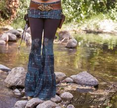 Turquoise Lace Zumi Dance Pants - with adjustable skirt length - Great for Hooping by ElvenForest on Etsy