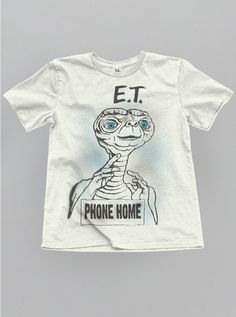 JUNK FOOD YOUTH E.T. PHONE HOME TEE IN WHITE/BLACK/BLUE COMBO