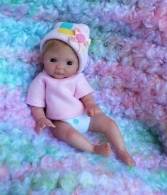 Miniature OOAK hand SCULPTED newborn BABY girl clay ART doll by Dawn McLeod 5""