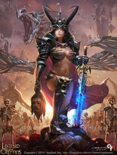 """Legend of the Cryptids/ Client Applibot, Inc. LO"""" is an epic fantasy card battle game with MMORPG elements that takes place on a planet called Neotellus. Fantasy Girl, Fantasy Warrior, Fantasy Women, Dark Fantasy, Fantasy Fighter, Art Manga, Anime Manga, Fantasy Artwork, Paladin"""