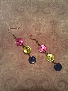 Button Earrings by suzanneshores on Etsy, $5.00