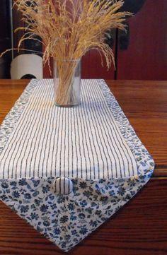 Blue stripe/floral table runner sz XL in 2 by BlessingsandBabies, $18.00