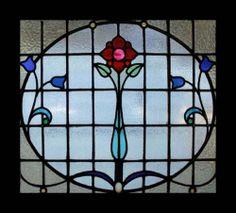 The Very Best Art Nouveau Rose Beauty Stained Glass Window   eBay