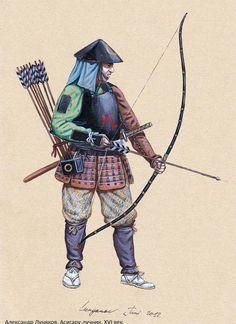 Ashigaru archer, feudal Japan XVI c. Archer Characters, Martial, Character Art, Character Design, Samurai Artwork, Larp Armor, Armadura Medieval, Japanese Warrior, Warriors