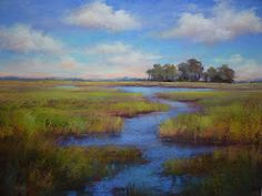 """Daily Paintworks - """"Painting the Big View.A Trip to the Lowcountry"""" - Original Fine Art for Sale - © Karen Margulis Pastel Landscape, Watercolor Landscape, Landscape Art, Landscape Paintings, Watercolor Paintings, Pastel Paintings, Pastel Art, Pastel Blue, Chalk Pastels"""