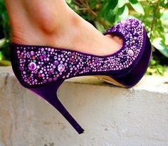 purple rhinestones heels