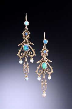 Opal and gold earrings by Musi Hunt. Musijewelry.com