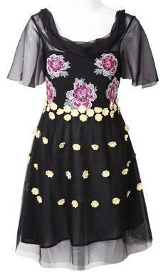 Black Short Sleeve Embroidery Mesh Yoke Dress - Sheinside.com