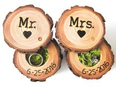 This pair of wedding ring bearer boxes would be a perfect bridal shower gift, or a great way to store your wedding rings each night. The wood