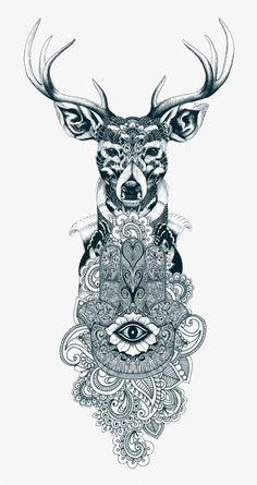 I love the hamsa/mandala combination, but without the deer Beautiful Tattoos, Cool Tattoos, Tatoos, Tribal Tattoos, Hirsch Tattoo Frau, Mandala Animal, Mandala Tattoo Mann, Hand Der Fatima, Petit Tattoo