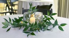 Weddings Source - Do It Yourself - DIY Wedding Reception Table Centerpiece - Candles and Greenery
