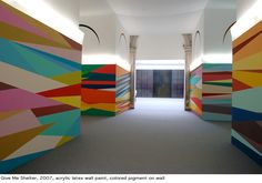Odili Donald Odita color geometric mural at Columbus College of Art and Design A colorful wall would be so fun in a youth room. Mural Painting, Mural Art, Wall Murals, Inspiration Wand, Design Inspiration, School Murals, Wall Design, Design Case, Geometric Wall