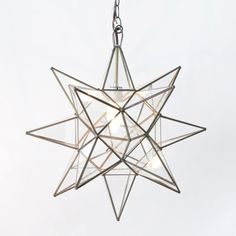 """Worlds Away Clear Star Chandelier Large WAACS111  With more than a twinkle, this 3-dimensional star shaped chandelier lights up the room.  15"""" Diameter  UL Approved for 60 watt bulb  Includes cord and canopy with 3-4' feet length of chain  $196"""