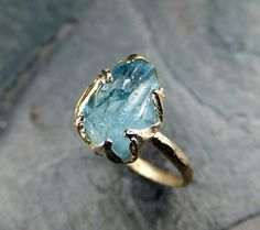 Raw Aquamarine Ring Solid 14K Gold Ring One of a door byAngeline