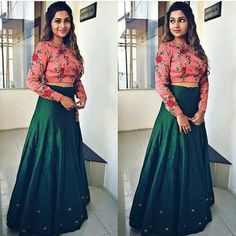 Nice combination of floral crop top & bottle green skirt Choli Designs, Lehenga Designs, Blouse Designs, Indian Designer Outfits, Indian Outfits, Designer Dresses, Indian Attire, Designer Wear, Indian Clothes