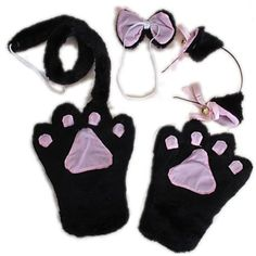 Trendyline Fancy Cat Cosplay Anime Convention Neko Costume Lolita Gothic Paw Ear Tail Bell Hairclip Bow Tie Party Set(Black)