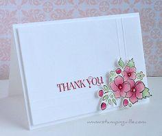 Elegant thank you card using Stampin' Up! Bordering on Romance stamp set