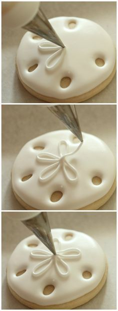 Sand Dollar Cookie How-To. (There are more under the sea creature cookies how-to links on this page. Just perfect for our theme at school this year.)