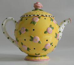 Mary Engelbreit Teapots | Teapot - Pink Rosettes& Polka Dots...1997