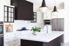 Black Oak Plank Range Hood with Glass Front Cabinets - Transitional - Kitchen Glass Kitchen Cabinets, Inset Cabinets, Glass Front Cabinets, Upper Cabinets, White Cabinets, Wooden Range Hood, Kitchen Wrap, Kitchen Views, Master Bath Remodel