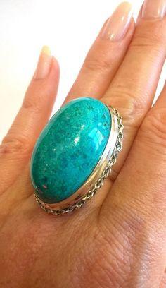 925 Silver Overlay Cabochon Vert Cuivre Turquoise semi pierres précieuses boucles d/'oreilles