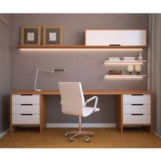 Muebles Starhome -Escritorio mas repisas Okayo   - con secciones  - Blanco /haya