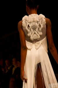 Natasha Fagg gown with 3d printed back piece