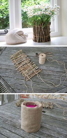 Rustic Flower Pots Made From Twigs / http://www.himisspuff.com/diy-wedding-centerpieces-on-a-budget/43/                                                                                                                                                                                 More