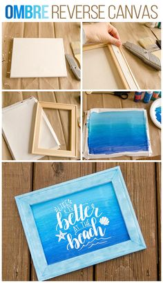"Great HTV reverse canvas tutorial, plus a ""life is better at the beach"" cut file design! This reverse canvas technique is so neat, especially with heat transfer vinyl! Crafts HTV Reverse Canvas Tutorial + Life is Better at the Beach Cut File Canvas Crafts, Diy Canvas, Beach Canvas, Vinyl Canvas Ideas, Painted Canvas Quotes, Canvas Decor Diy, Canvas Art, Acrylic Canvas, Mason Jar Crafts"