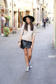 blog mode jupe en cuir pull