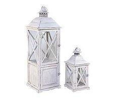 WHITE DECO: Set de 2 faroles de madera – blanco I