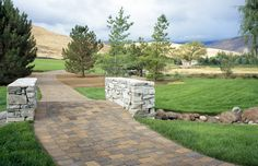 Belgard's Cambridge Cobble paver makes a beautiful pathway through this scenic landscape. Backyard Pavers, Fence Landscaping, House Yard Design, Cambridge Pavers, Outside Living, Walkways, Color Combinations, Things To Come, Landscape