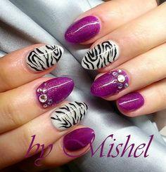 Purple, zebra print nail art