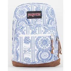 JanSport Right Pack Swedish Lace Backpack ($64) ❤ liked on Polyvore featuring bags, backpacks, white, white lace backpack, strap backpack, white laptop bag, jansport rucksack and lace backpack