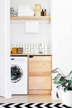 Do you want make small laundry room look like functional for home and apartement? Laundry rooms are often overlooked because you work too much at home and apartement. Here our team gave 30 Laundry Room Design Ideas. Hope you are inspired & enjoy it. Laundry Room Remodel, Laundry Room Organization, Laundry Storage, Laundry Room Design, Hidden Laundry, Compact Laundry, Laundry Nook, Laundry Closet, Kitchen Remodel