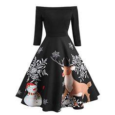 028417c8e40 CLOOM-Damen-Weihnachtskleid-Rockabilly-Kleider-Damen-Vintage-Kleid-