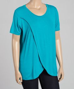 Another great find on #zulily! Bright Blue Layered Scoop Neck Top - Plus by MINX #zulilyfinds