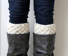 Boot  Socks Knit Leg Warmer Ivory Reversible- Crofton Cuffs