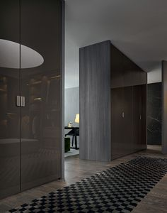 Senzafine New Entry wardrobes, leaf opening, moka glossy lacquered doors, Volo handles.
