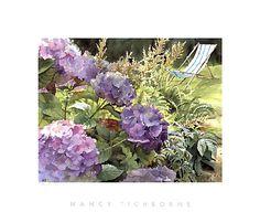 Nancy Tichborne Watercolours - Blue Hydrangeas