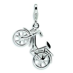 Sterling Silver 3-D Enameled Bicycle W/Lobster Clasp Charm *** Hurry! Check out this great product : Jewelry Charm Bracelets