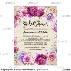 Burgandy and Burlap Floral Wreath Bridal Shower