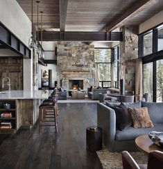 Incredible mountain modern dwelling offers slope-side living in Montana This mountain modern dwelling was designed by Centre Sky Architecture, located in the community of Moonlight Basin in Big Sky, Montana. Home Living Room, Living Room Designs, Living Area, Barn Living, Living Spaces, Modern Mountain Home, Mountain Living, Cabin Homes, Modern House Design