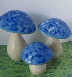 Hand Made Clay Garden Mushrooms With Blue Mosaic Caps. Set of 3 by PinkFlock on Etsy
