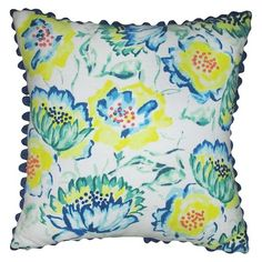 Floral Print with Pom-Pom Pillow Blue -Threshold™