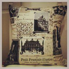 black and beige Paris Shabby Chic Cushion
